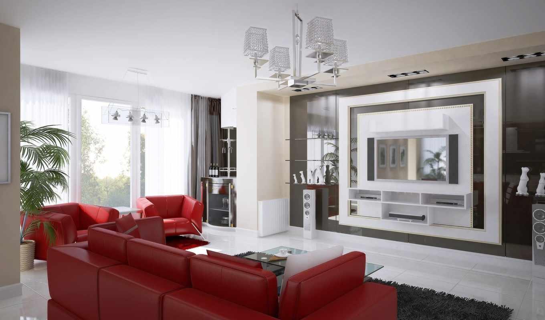 красный, белый, interer, чёрный, dizain, интерьере, cvet, гостиной,