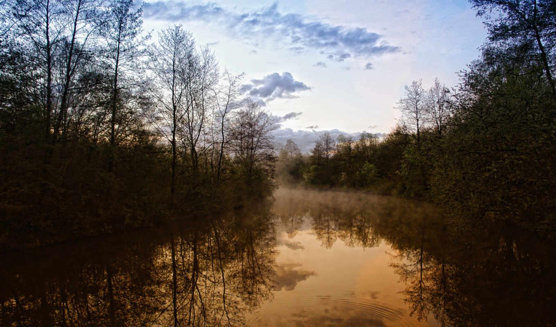 природа, вечер, река, деревя, леса, красавица, вид, дымка,