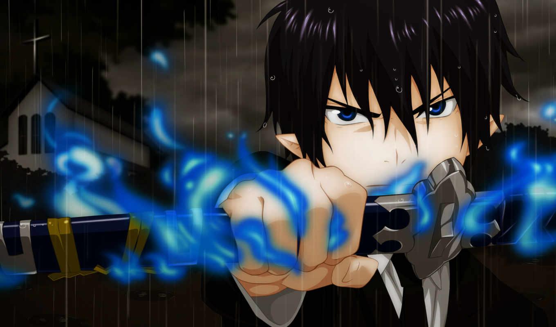 anime, exorcist, blue, rin,