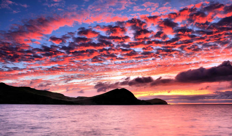 закат, море, рассвет, силуэт, небо, горы,
