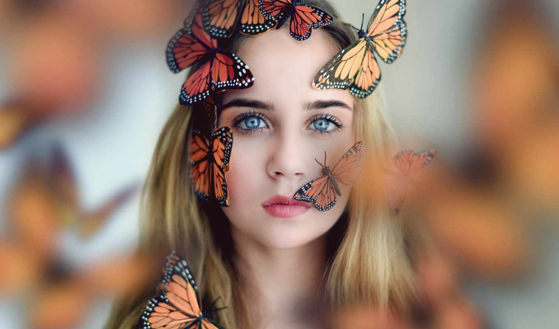бабочки, девушка, лице, бабочками, бабочка, бьюти, фото, стиле, бабочкой, zoom,