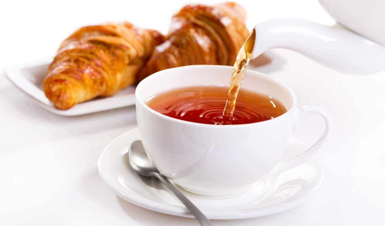 ,, пища, круассан, кухня, блюдо, чашка,  чай, завтрак,