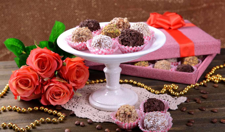цветы, конфеты, chocolate, дар, розы,