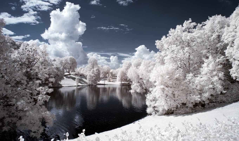 winter, снег, landscape, лес, trees, ночь, река, изображение, природа, небо,