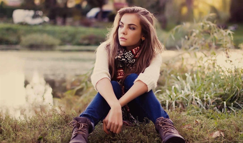 devushki, девушка, теплом, шарфе, под, веселые, свитере,
