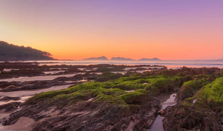 побережье, камень, закат, мох, рассвет, добавить, пожаловаться, природа, небо, море, red