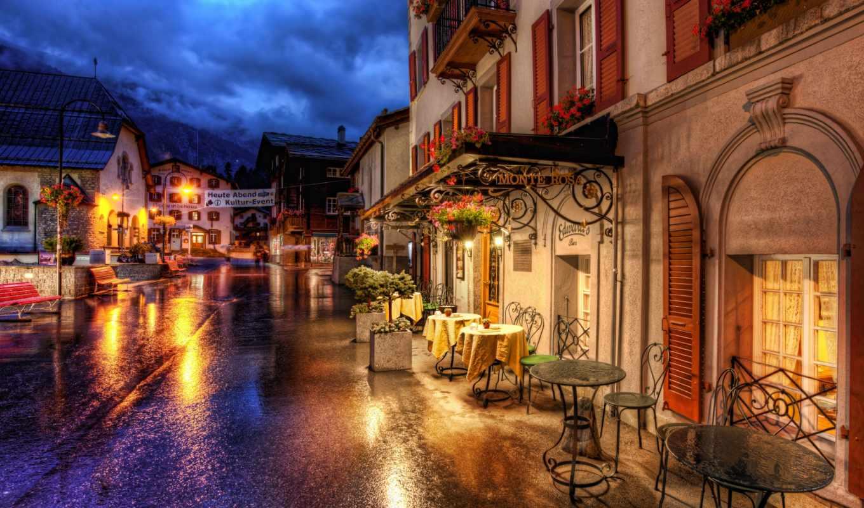 швейцария, zermatt, кафе, улица, switzerland, церматт, столики, wallpaper, дома, здания, дорога, city,