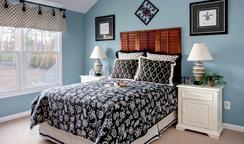 спальня, интерьер, кровать, чёрно, балла, подушки, белая,