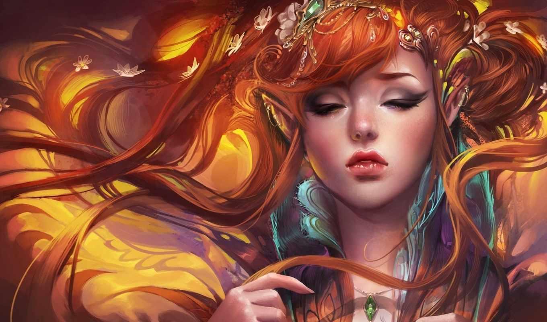 девушка, эльфийка, рыжая, арт, уши, sakimichan, рисунок, красавица, волосы, картинка, живопись, амулет, украшения, картинку, fantasy, правой, мыши, кнопкой, выберите, ней,