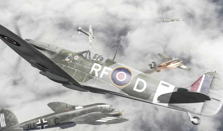 воздушный, бой, война, самолеты, мировая,