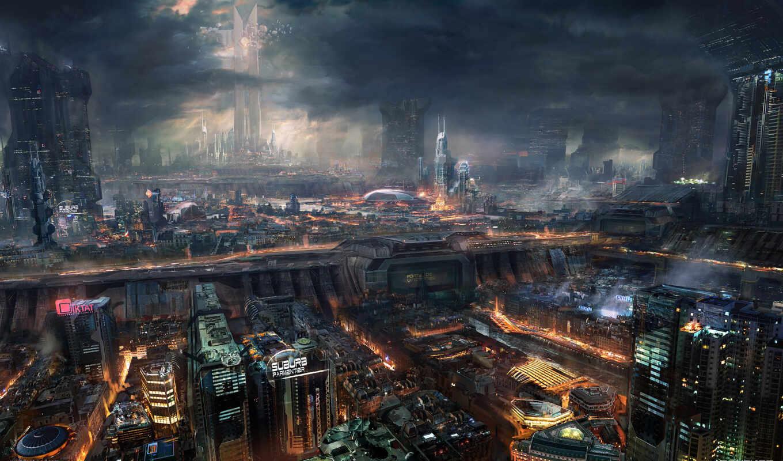 фантастика, ночь, будущее, технологии, город,