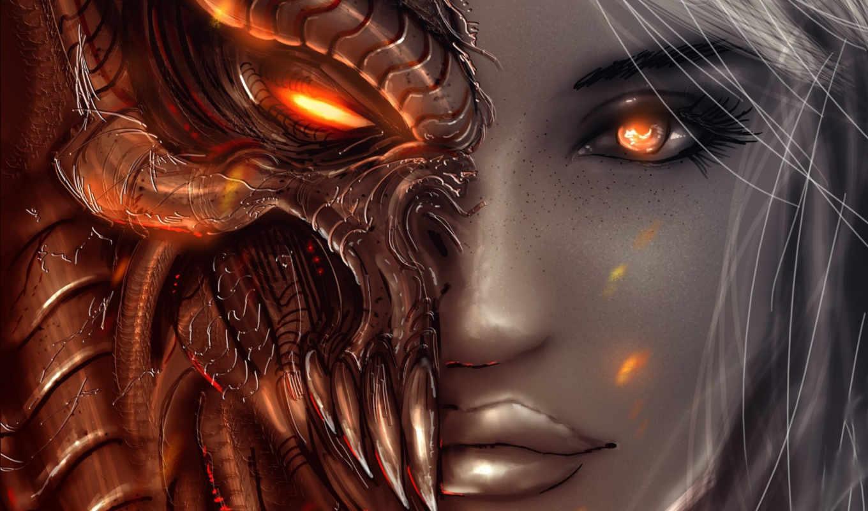 демон, art, angel, diablo, девушка, angels, demons, взгляд, лицо,