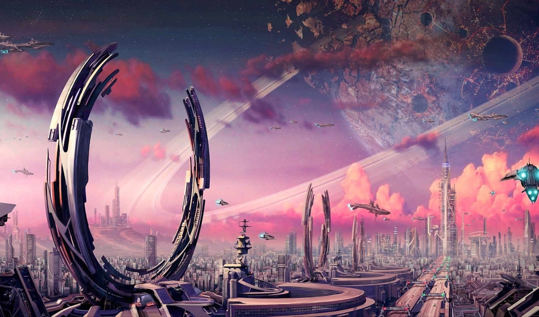 art, фантастика, planet, кольца, город, камни, crater, картинка,