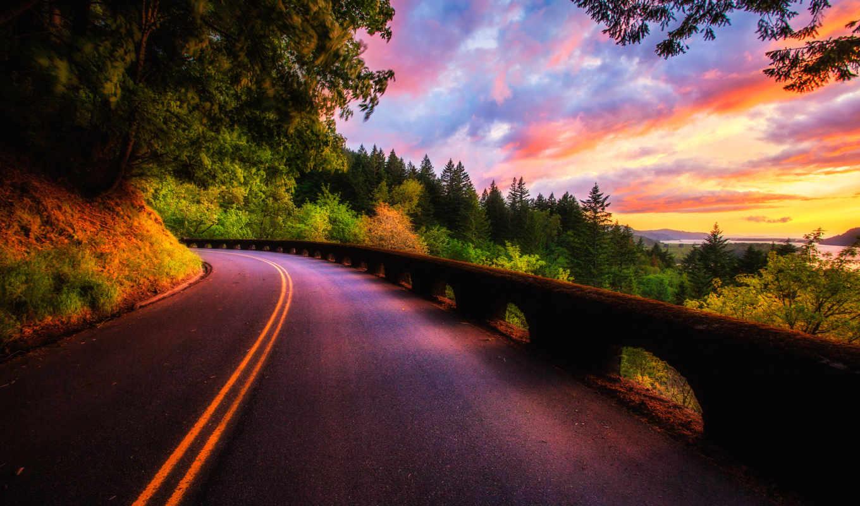 дорога, закат, природа, oblaka, landscape, небо, лес, trees,