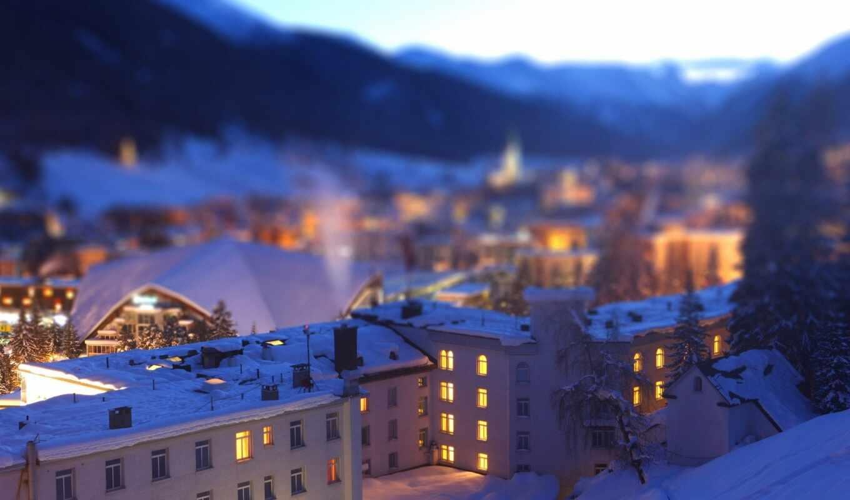 город, house, гора, ночь, взгляд, крыша, shift, снег, ночное