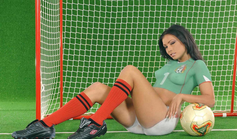 девушка, футбол, мяч, грудь, секси,