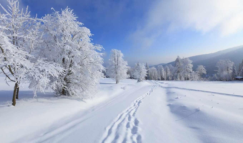 снег, зима, пейзаж, небо, природа, деревья, горы, картинка, иней, следы,