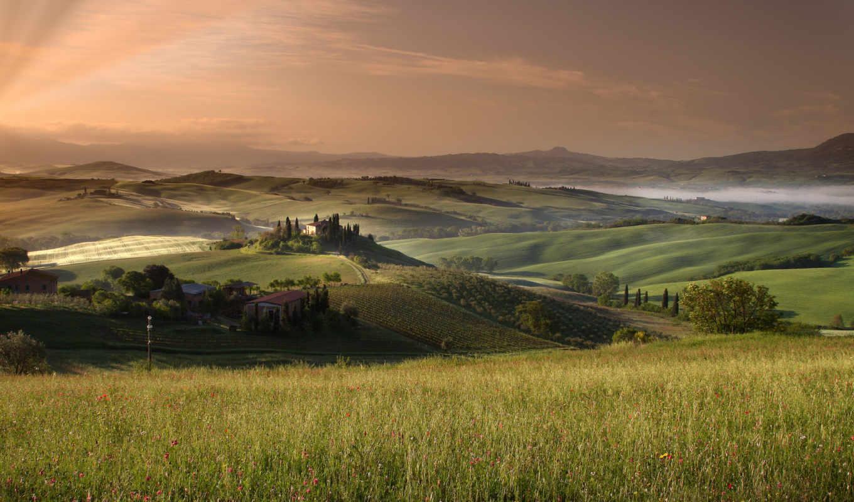 tuscany, поля, небо, desktopwallpapers, коллекция, картинок,