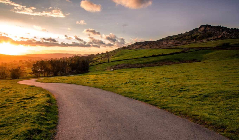 дорога, закат, landscape, природа, поле,