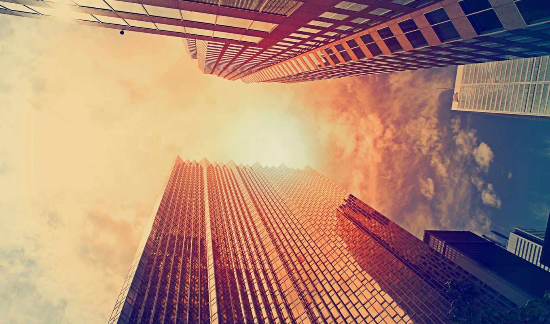 gorod, небо, солнце, den, здания, городе, города, мира, oblaka, высоты,