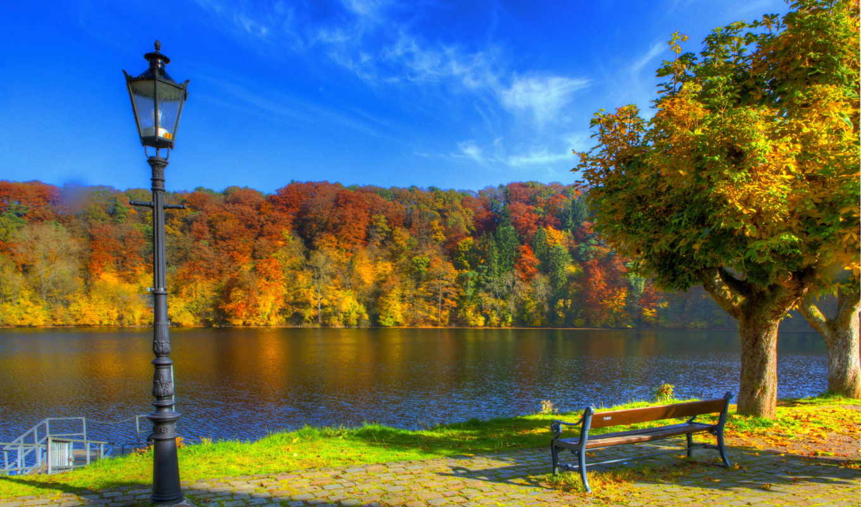 осень, фонари, германия, небо, скамейка, года, времена,