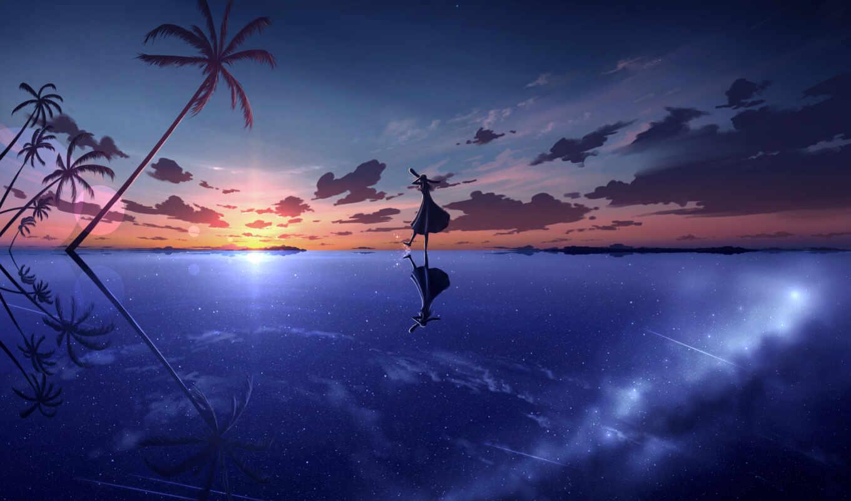 anime, небо, art, anim, арта, девушка