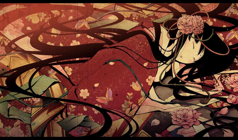 арт, девушка, гейша, лицо, зонты, красное