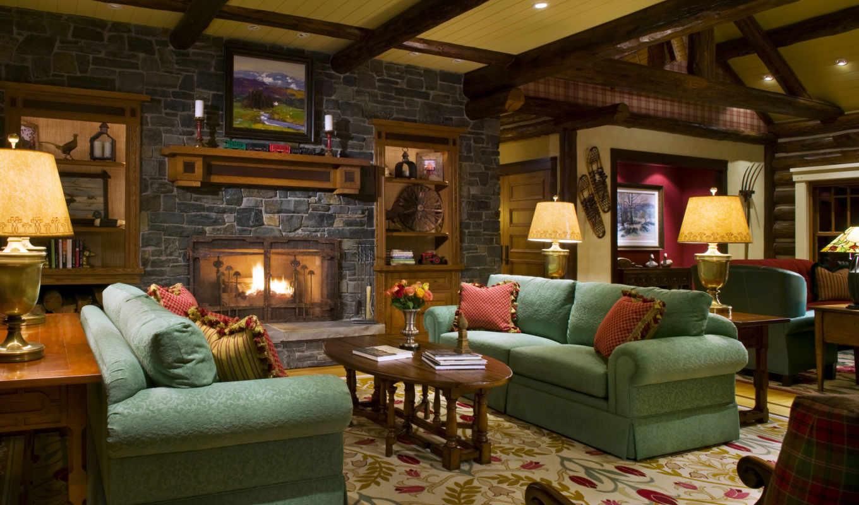 интерьер, камин, диван, лампа, дизайн, картинка, обоях, картинку, выпуск,