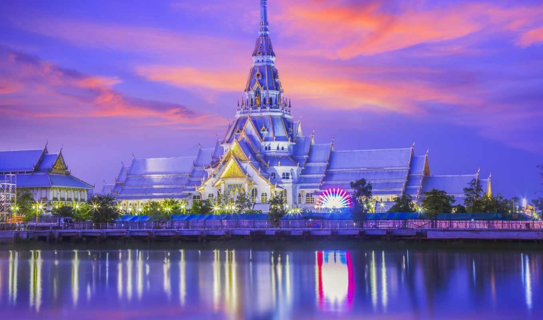 vue, nuit, bangkok, thaïlande, temple, sothon,