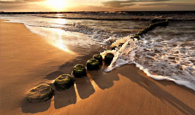 brzeg, morza, zachód, słońca,