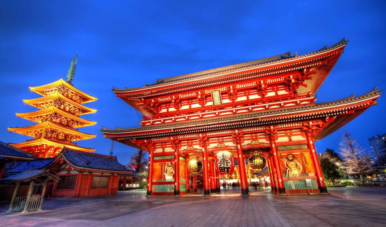 храм, asakusa, sensoji, tokyo, kannon, япония,