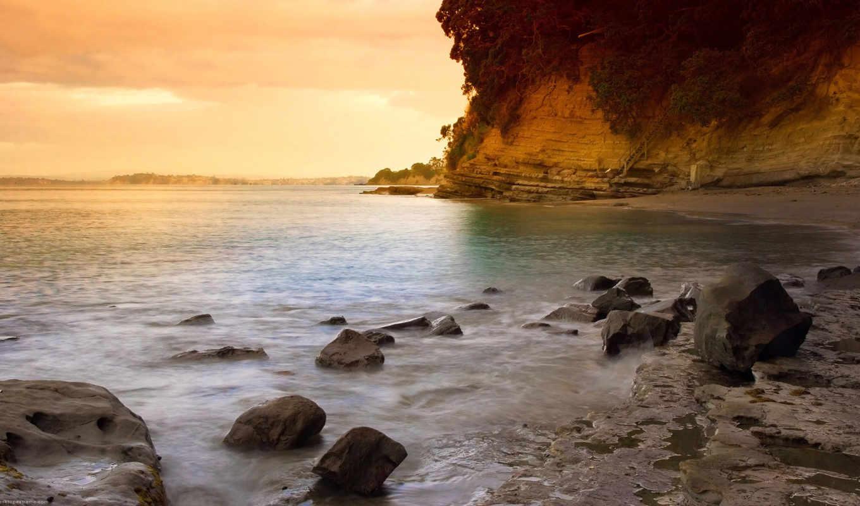 закат, пляж, камни, скалы, new, zealand,
