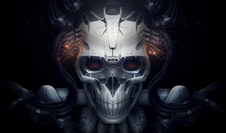 robot, череп, fantasy, чёрное, белое, роботы, id, картинка, spark, cyborg,