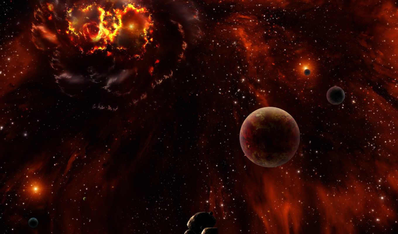 арт, планеты, космос, туманность, звезды,