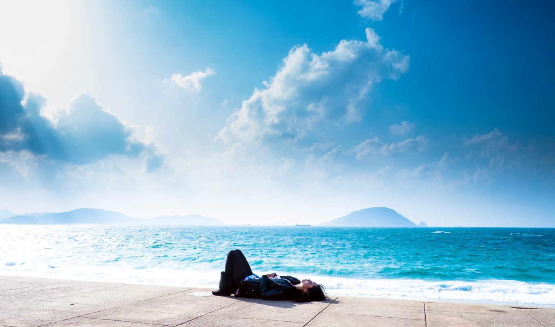 небо, море, девушка, картинка,