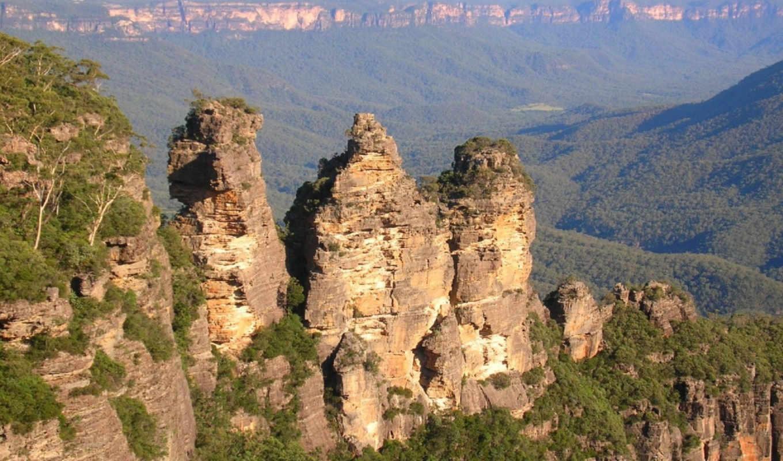 blue, mountains, full, отличных, sisters, three, вид, sydney, природа, объемный, окруженный, горы, лес, скалами, пушистый, landscapes, сборник, magnificent, australia,