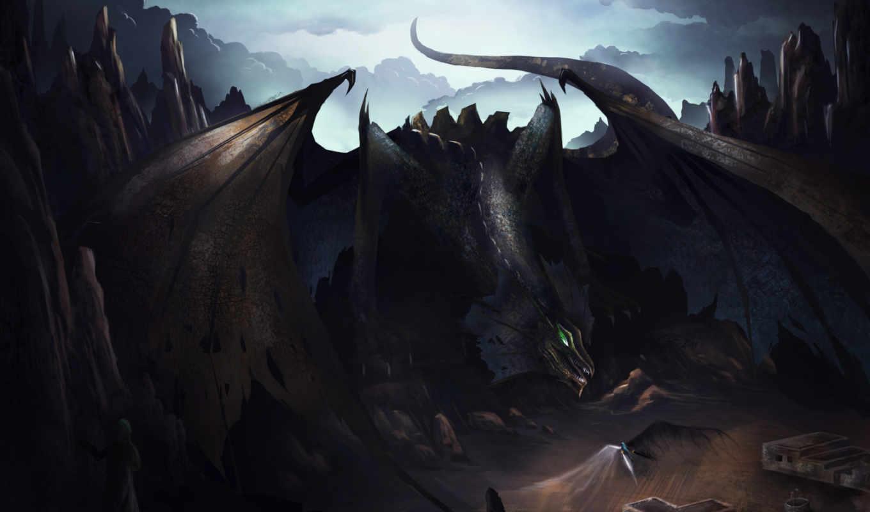 дракон, black, art, fantasy, like, desktop,