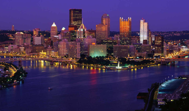 картинку, город, вечер, огни, pittsburgh, река, pennsylvania, guide,