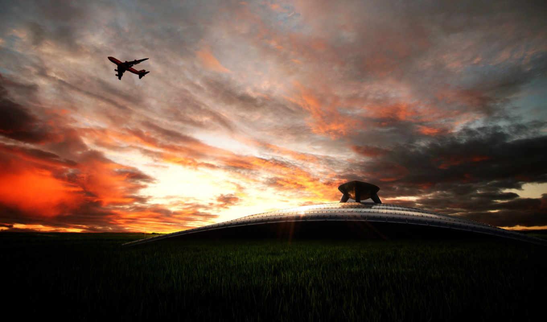 самолёт, небе, небо, закат, пассажирский, закате,