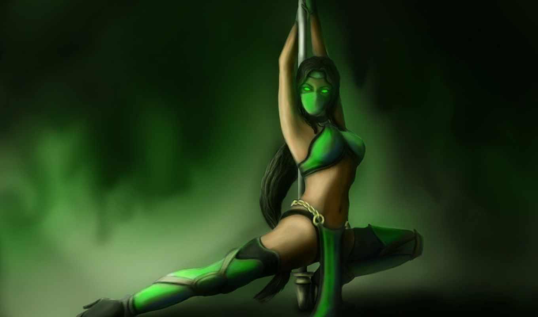 kombat, mortal, jade, pole, game, art, взгляд, поза, девушка, маска,