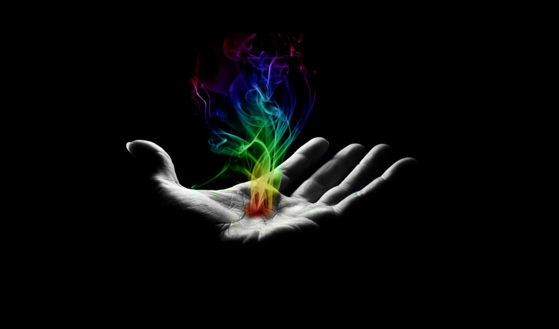 дым, рука, wallpaper, digital, colorful