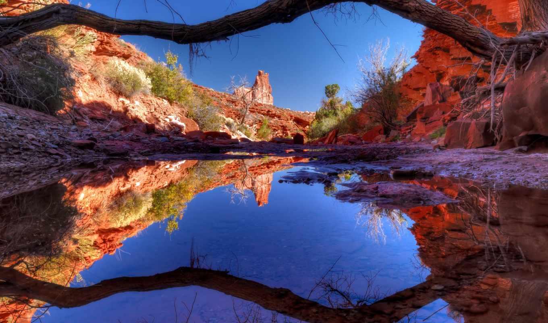дерево, природа, озеро, вода, каньон, скалы, неьо, отражение, картинка, горизонтали, имеет, вертикали,