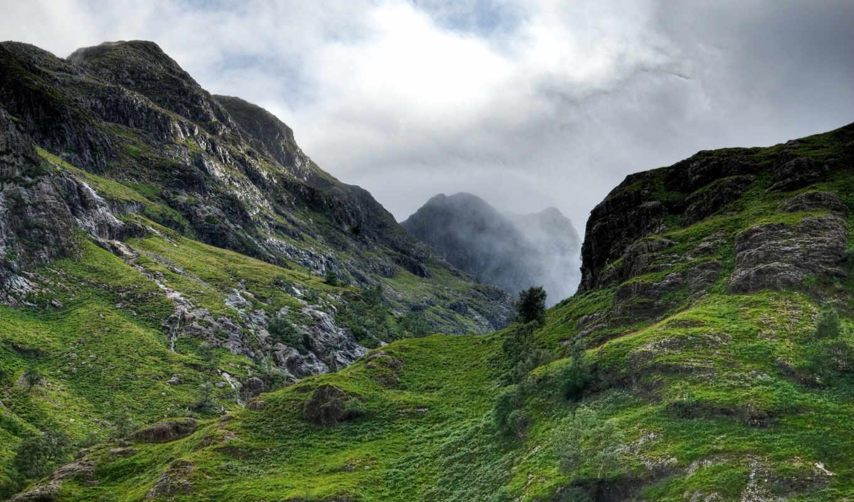 шотландия, горы, небо, скалы, height, ущелье,