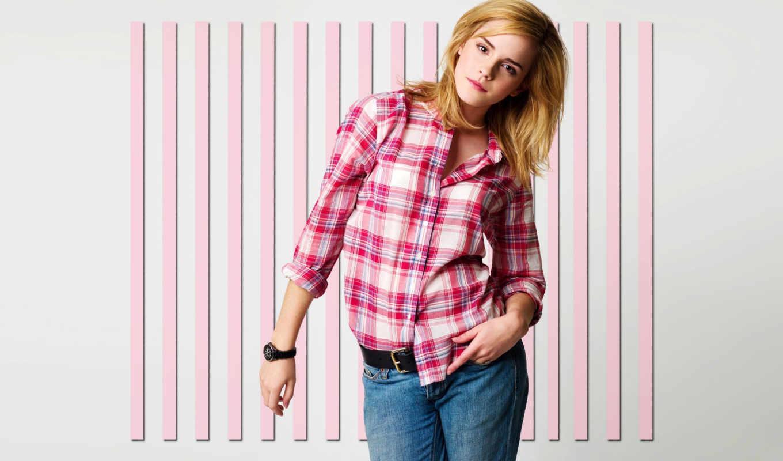 рубашке, рубашка, hermione, watson, emma, клетку, джинсы,