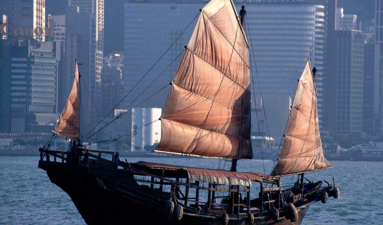 desktop, корабль, старинный, картинку, современного, фоне, города, best, download, architectures, hong, kong,