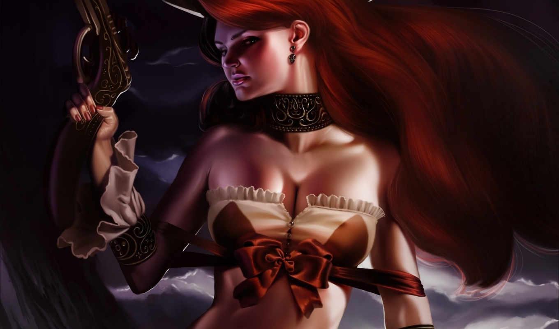 девушка, рыжая, revolver, оружие, art, legends, league, achibner, fan,