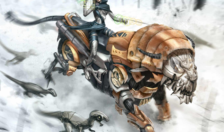 девушка, тигр, роботы, robot, neve, pursuit, tigre,