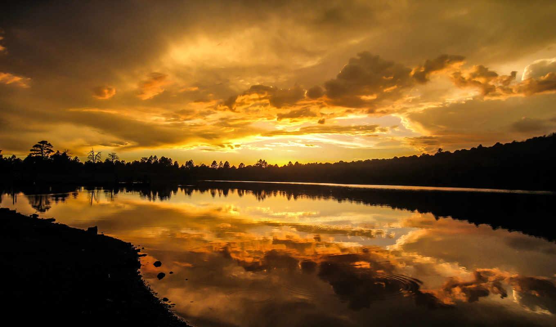kaibab, озеро, природа, курсы, фотографий, mist, озере, закат, красивые, arizona, management,