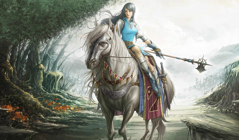 fantasy, воин, фэнтези, рисунки, очень, коне, красивые, стиле, девушка, красивое,