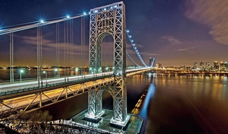мост, нью, бруклин, york, город, сша, ночь, hudson,